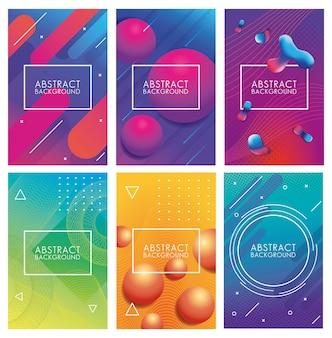 Ustaw geometryczne kolorowe abstrakcyjne tła
