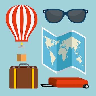 Ustaw globalną mapę z balonem i bagażem
