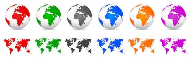 Ustaw globusy za pomocą map świata