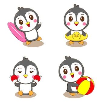 Ustaw grupę uroczych pingwinów z letnimi zajęciami