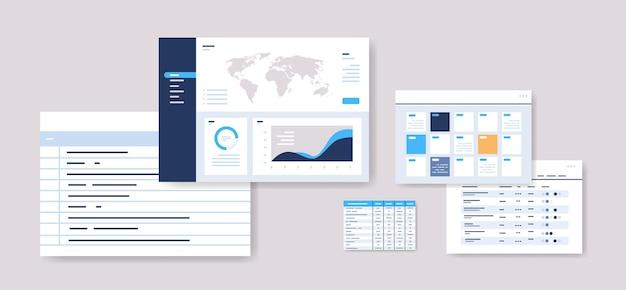 Ustaw harmonogramy planowania infografika szablony pulpitu nawigacyjnego planista online koncepcja zarządzania czasem pozioma ilustracja wektorowa