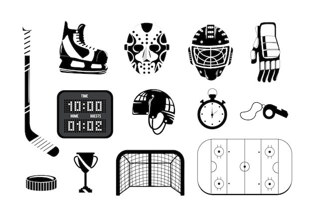 Ustaw hokej z profesjonalnym sprzętem do grania