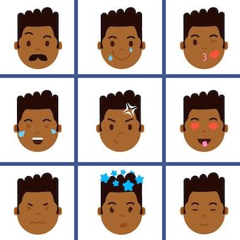 Ustaw ikonę emoji głowy afrykańskiego chłopca z emocjami twarzy, postać awatara, twarz z innym pojęciem męskich emocji