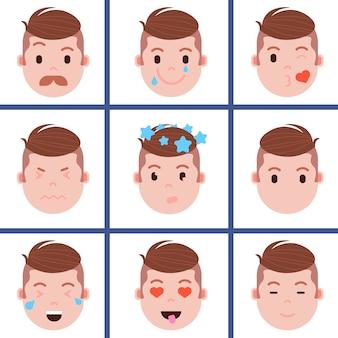 Ustaw ikonę emoji głowy chłopca z emocjami twarzy, postać awatara, twarz z innym pojęciem męskich emocji