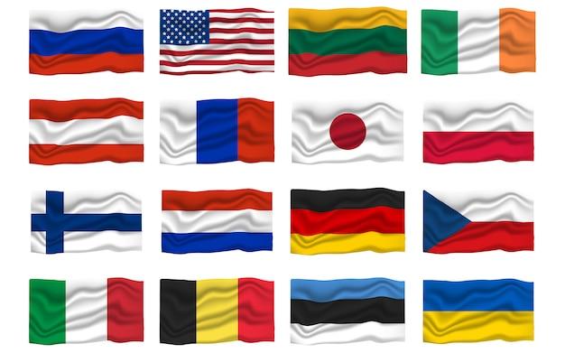 Ustaw ikonę flagi. flagi narodowe. ilustracja kreskówka wektor.