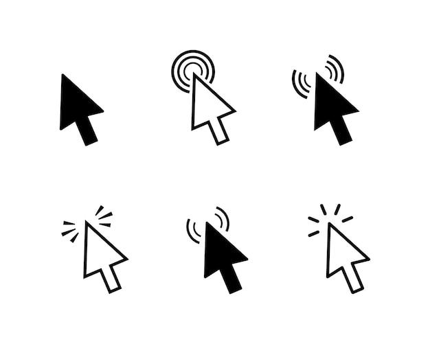 Ustaw ikonę kliknięcia wskaźnika komputera. klikanie strzałkami, kursorami narzędzi.