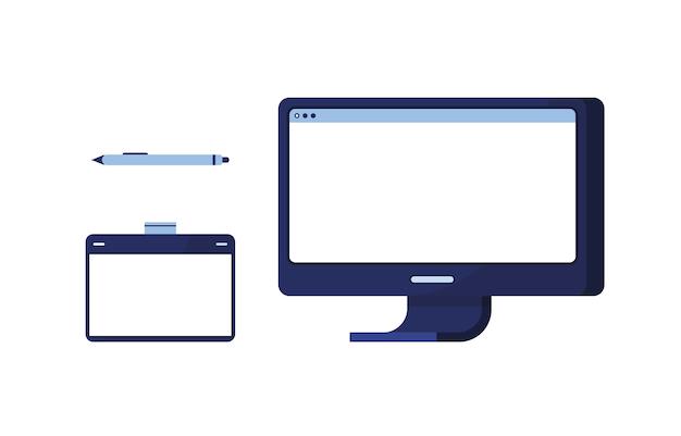 Ustaw ikonę komputer pc z tabletem graficznym i pędzlem do rysowania. zestaw do kreatywności. malować rysunki. niebieski