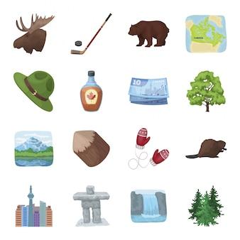 Ustaw ikonę kreskówka kanada. podróż kanadyjczyka. ikona na białym tle kreskówka zestaw kanada.