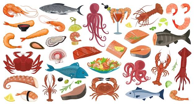 Ustaw ikonę kreskówka owoce morza.