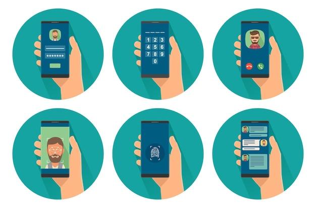 Ustaw ikonę mężczyzna trzymając smartfon z dostępem do telefonu i komunikacji na ekranie. skanuj twarz id, numery przycisków, wprowadź hasło, odcisk palca, połączenie przychodzące, czat. ikona kolor płaski wektor na kole
