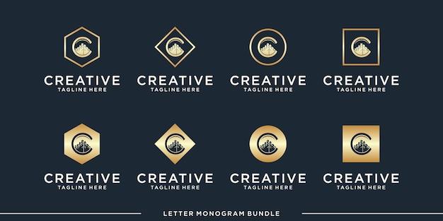 Ustaw ikonę monogramu początkowy szablon projektu logo c,