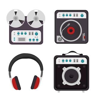Ustaw ikonę na białym tle urządzeń przemysłu muzycznego