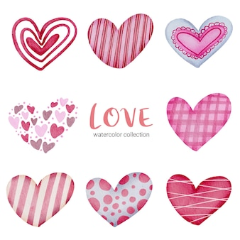 Ustaw ikonę serc pomalowanych kolorami wody i różnymi teksturami, izolowany element koncepcji walentynek akwareli piękne romantyczne czerwono-różowe serca do dekoracji, ilustracji.
