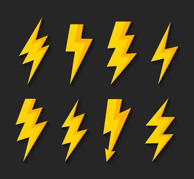 Ustaw ikonę wektora błyskawicy thunderbolt znak elektryczny symbol pioruna
