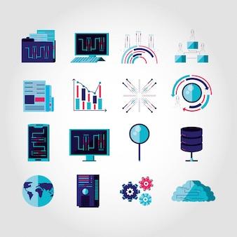 Ustaw ikony biznesu i technologii