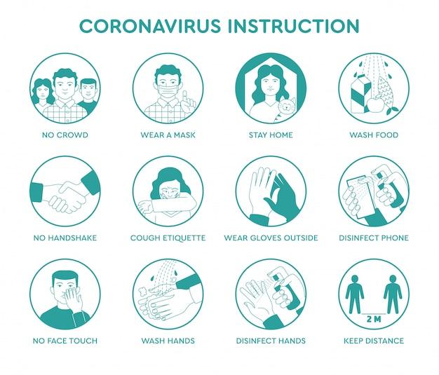 Ustaw ikony infografikę porad dotyczących zapobiegania kwarantannie koronawirusa covid-19 wewnątrz i na zewnątrz dla ludzi i społeczeństwa. zasady bezpieczeństwa podczas pandemii ncov-2019. plakat informacyjny, broszura.