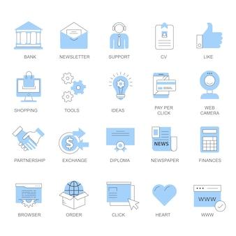 Ustaw ikony wektorowe dla koncepcji mobilnych i aplikacji internetowych