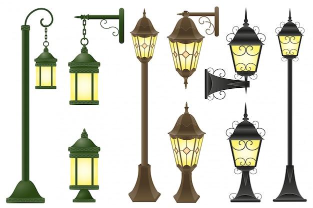 Ustaw ilustracji wektorowych streetlight