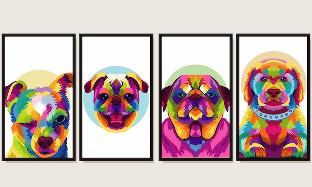 Ustaw ilustracyjną kolorową głowę psa w stylu pop-art