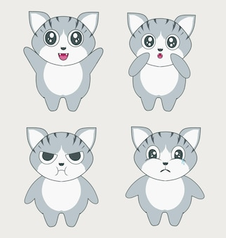 Ustaw ilustracyjną postać słodkiego kota