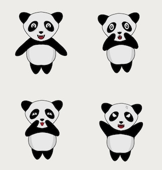Ustaw ilustracyjną postać słodkiej pandy
