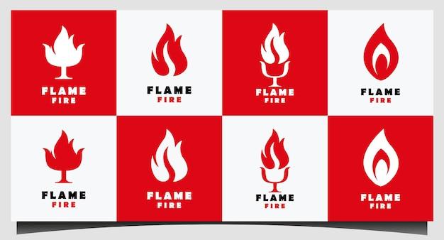 Ustaw inspirację do projektowania logo fire flame