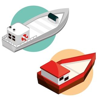 Ustaw izometrycznie łodzi