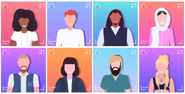Ustaw kamerę ramka ekranu wizjer rec mix wyścig blogerzy lub reporterzy nagrywający filmy online mężczyźni kobiety rozmawiają na żywo portrety kolekcja zbiór poziomo