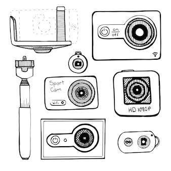 Ustaw kamerę sportową, kamerę akcji na białym tle. ilustracja wektorowa w stylu szkicu