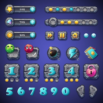 Ustaw kamienne przyciski, paski postępu, obiekty pasków do projektowania stron internetowych i interfejsu użytkownika gier komputerowych
