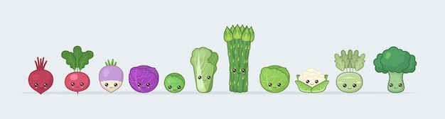 Ustaw kapustę i warzywa. słodkie kawaii jedzenie