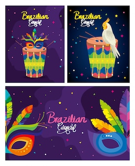 Ustaw karnawałowe karty brazylijskie