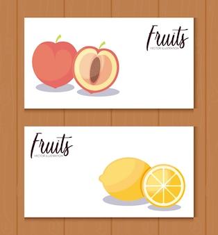 Ustaw kartę świeżych pomarańczy z brzoskwiniami