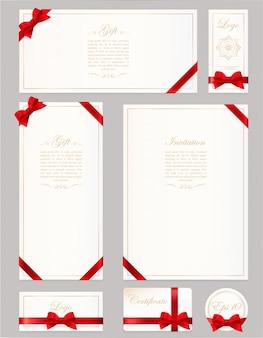 Ustaw kartę upominkową, certyfikat i kupon na szaro. szeroka kokardka z czerwoną wstążką i ramką na tekst. szablon kuponu, zaproszenia, prezentu, banera, certyfikatu lub plakatu