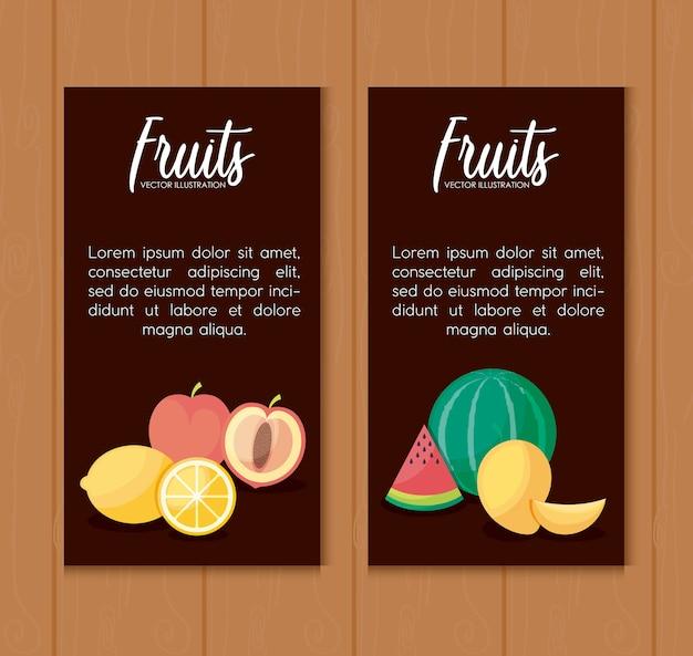 Ustaw karty świeżych pomarańczy i ustaw owoce