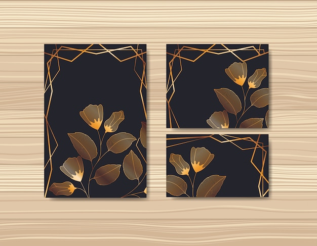 Ustaw karty z dekoracjami kwiatowymi
