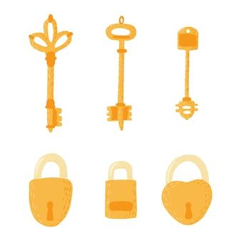 Ustaw klucze i zamki na białym tle.
