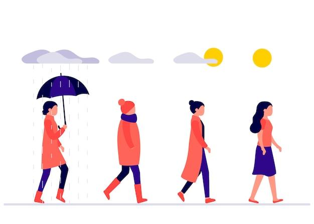 Ustaw kobieta chodzi na zewnątrz w różnych porach pogodowych młoda dziewczyna ubrana w sezonowe ubrania na zewnątrz