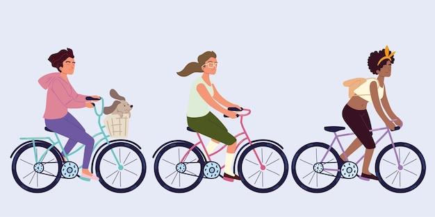 Ustaw kobietę jadącą na rowerze