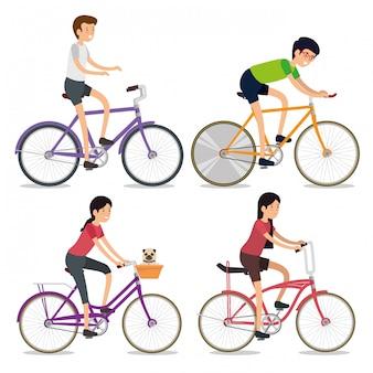 Ustaw kobiety i mężczyzn jeżdżących na rowerze