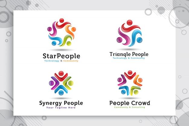 Ustaw kolekcję abstrakcyjnych ilustracji gwiazdy ludzie tłum logo z kolorowym i nowoczesnym stylu koncepcji.