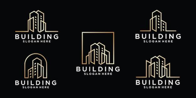 Ustaw kolekcję budynku z szablonem projektu logo w stylu nowoczesnej linii