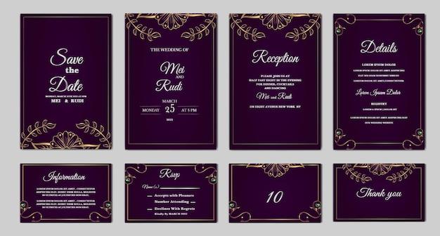Ustaw kolekcję eleganckie, zapisz datę zaproszenia na ślub