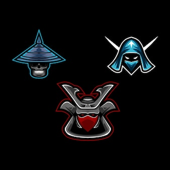 Ustaw kolekcję głowy samurajów z logo maskotki