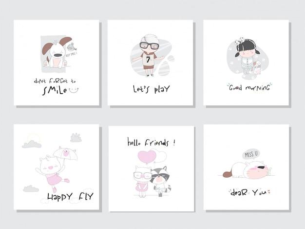 Ustaw kolekcję ilustracji zwierząt dzieci dla dzieci