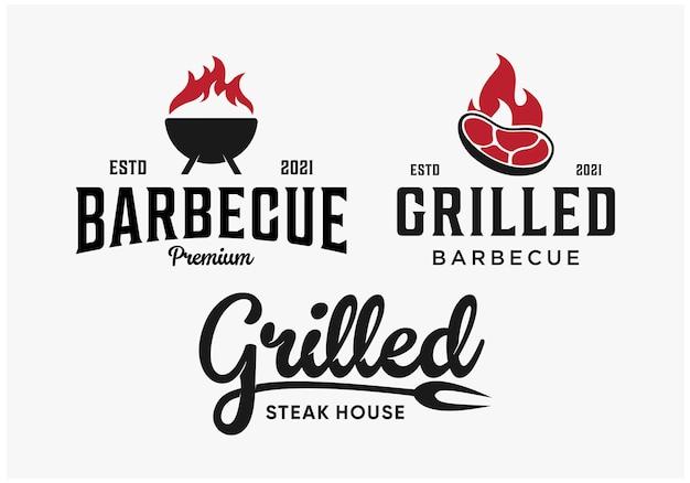 Ustaw kolekcję logo grilla z grilla