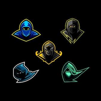 Ustaw kolekcję logo maskotki ninja z głową pakietu