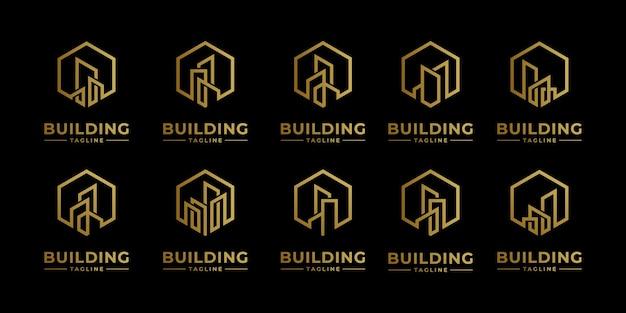 Ustaw kolekcję logo nieruchomości w stylu grafiki liniowej. streszczenie budynku miasta dla inspiracji projektowania logo i wizytówki