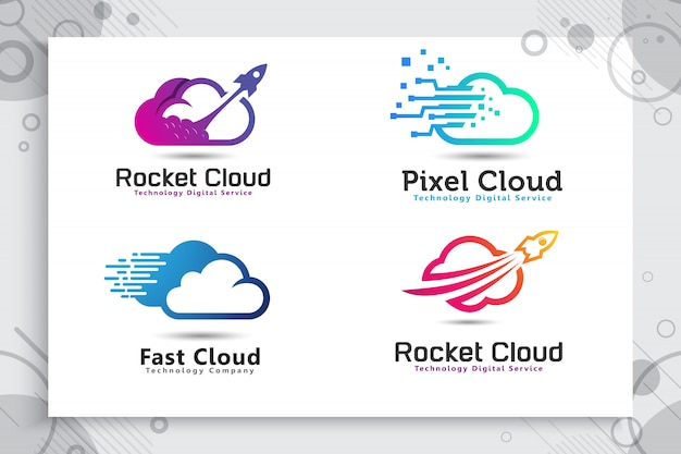Ustaw kolekcję logo rocket cloud w kolorowym i prostym stylu.