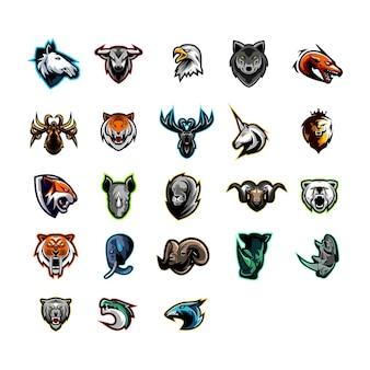 Ustaw kolekcję maskotek głowy zwierząt logo